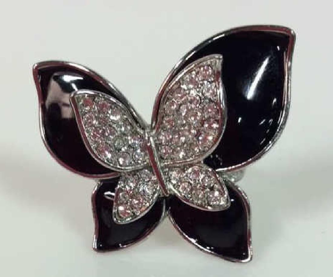 Lot 2 Butterfly & Heart Rhinestone Rings - 7