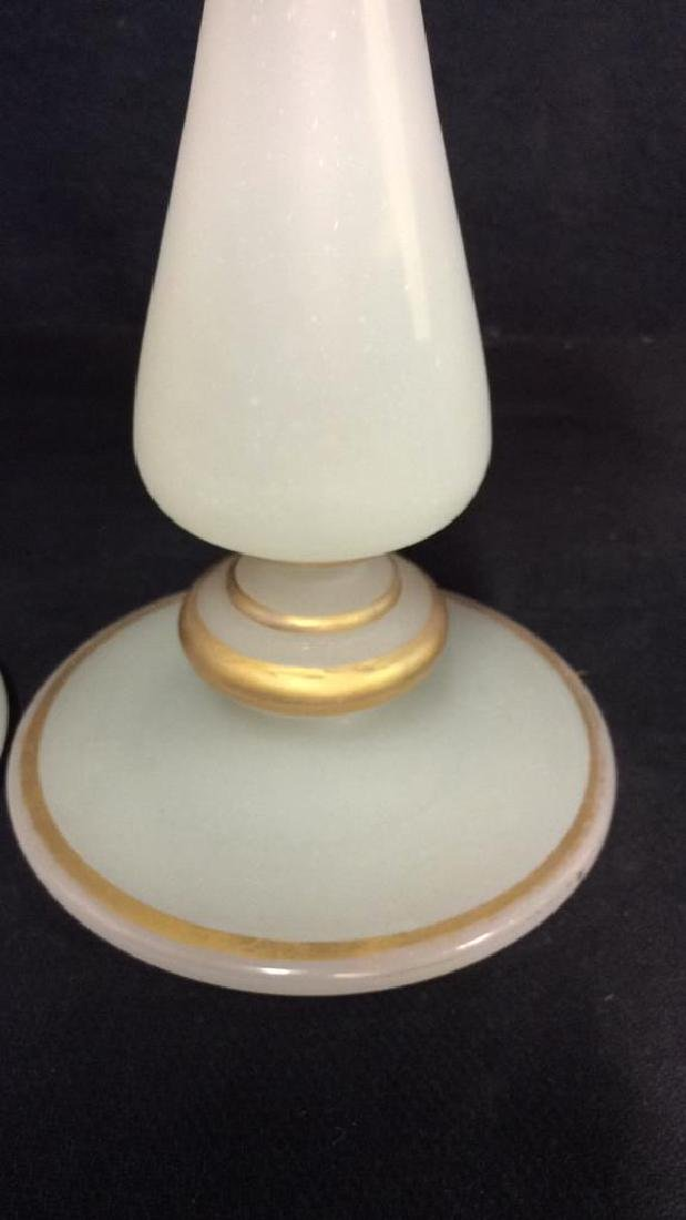 Pair Opaline Glass w Gold Vase Candle Sticks - 8