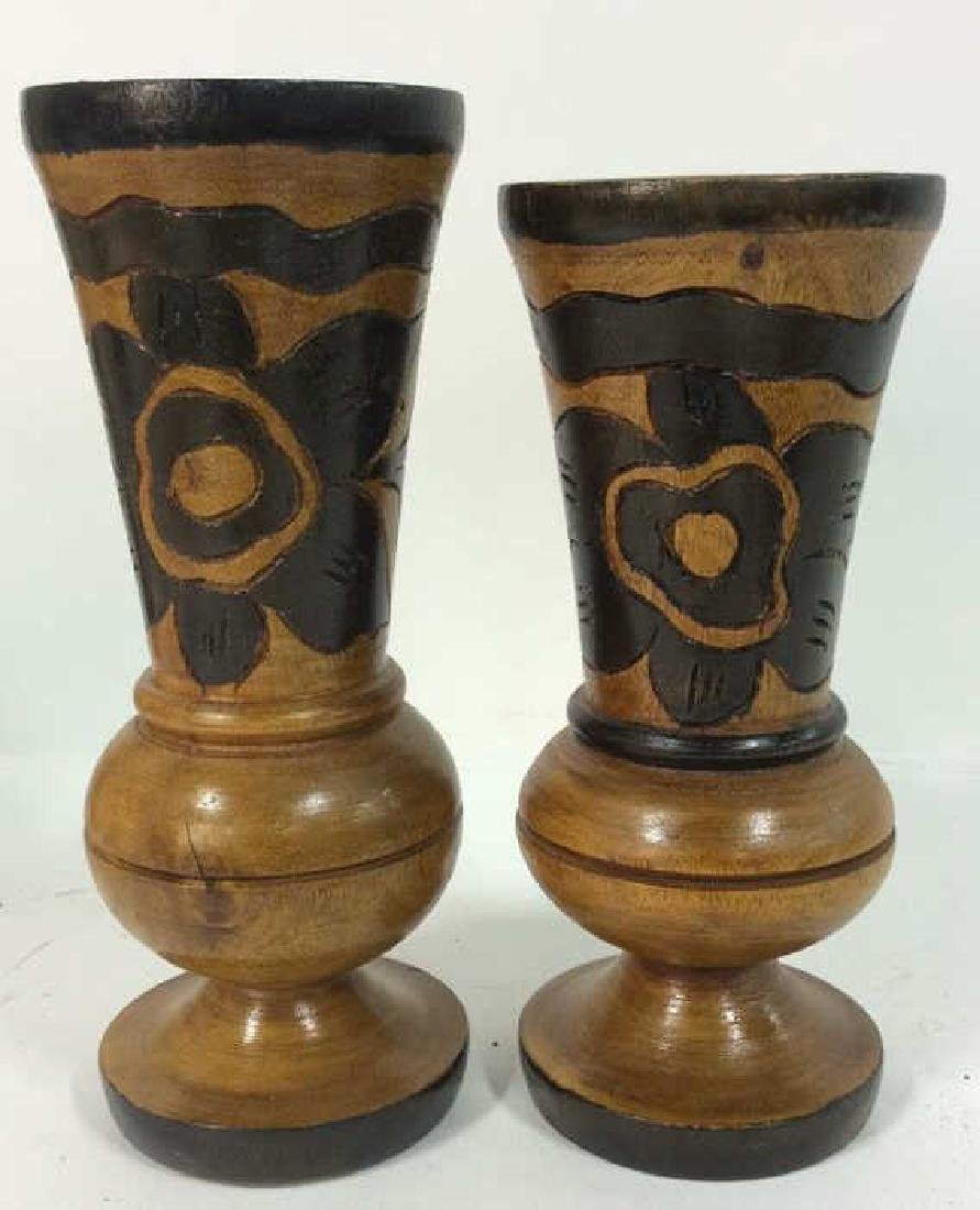 Lot 2 Brown Toned Carved Wooden Vases