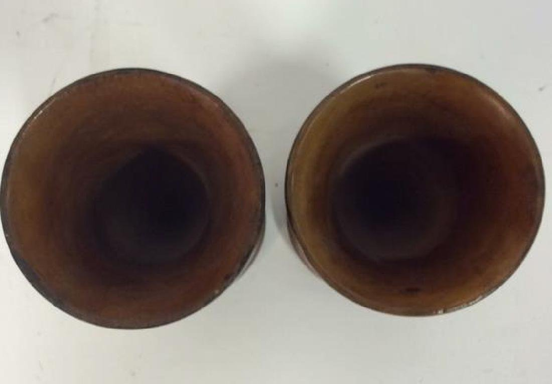 Lot 2 Brown Toned Carved Wooden Vases - 2