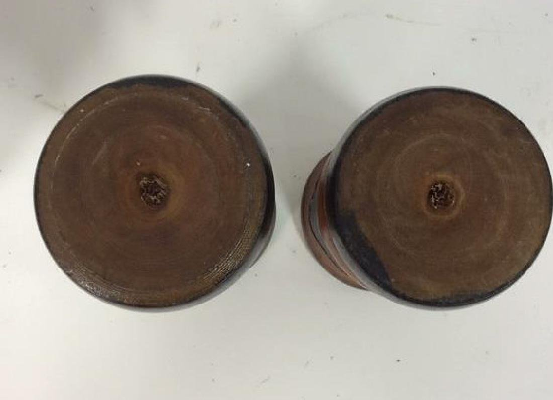 Lot 2 Brown Toned Carved Wooden Vases - 6
