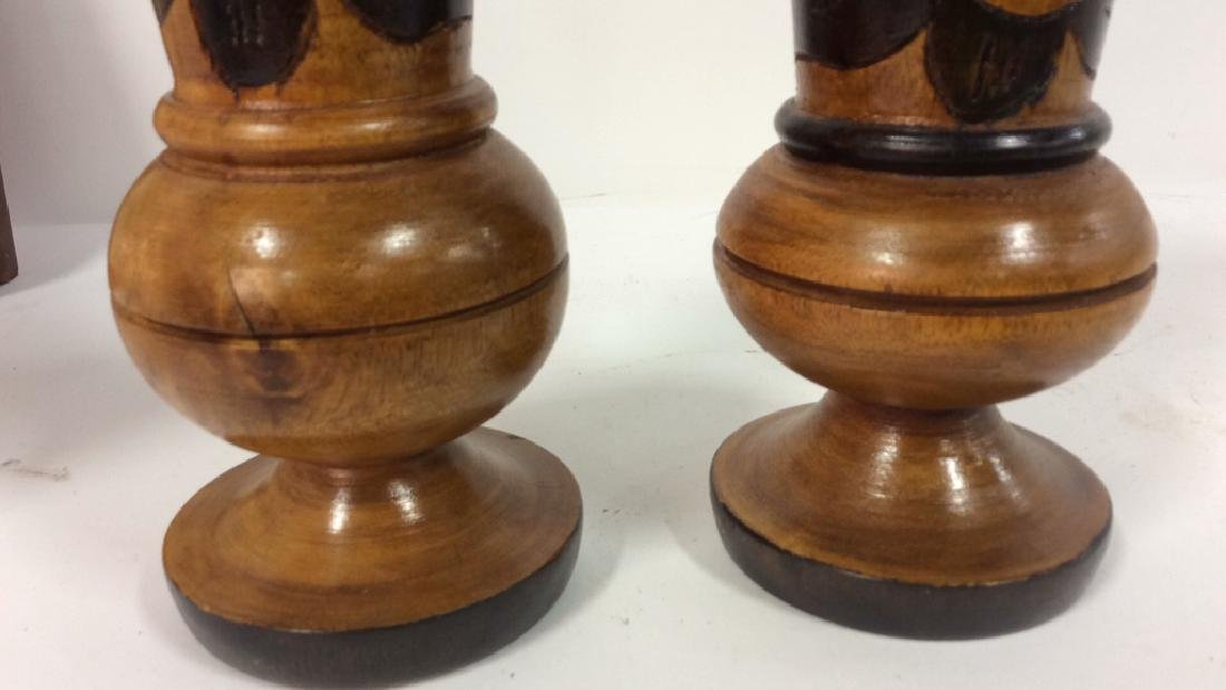 Lot 2 Brown Toned Carved Wooden Vases - 7