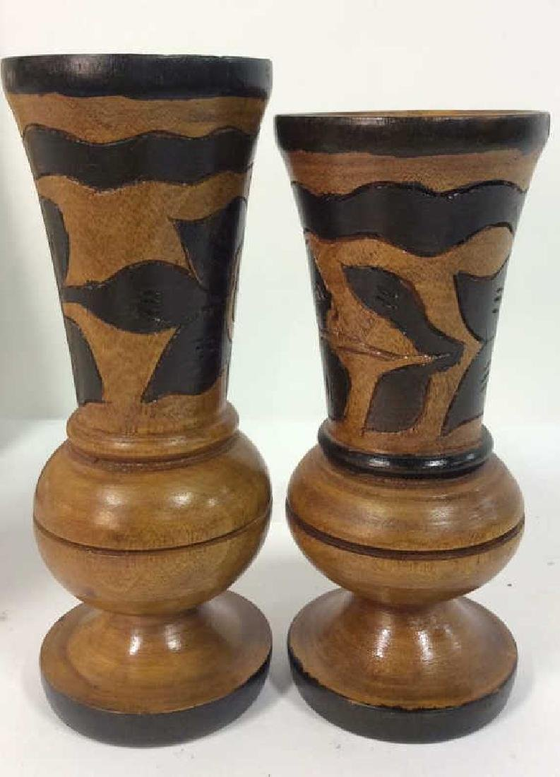 Lot 2 Brown Toned Carved Wooden Vases - 8