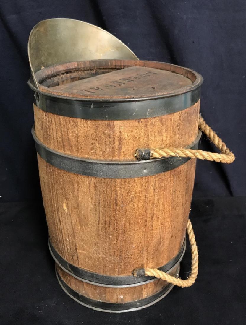 Vintage Charcoal Barrel With Built-in Metal Scoop
