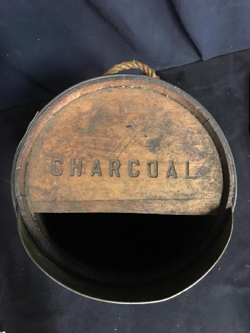 Vintage Charcoal Barrel With Built-in Metal Scoop - 2