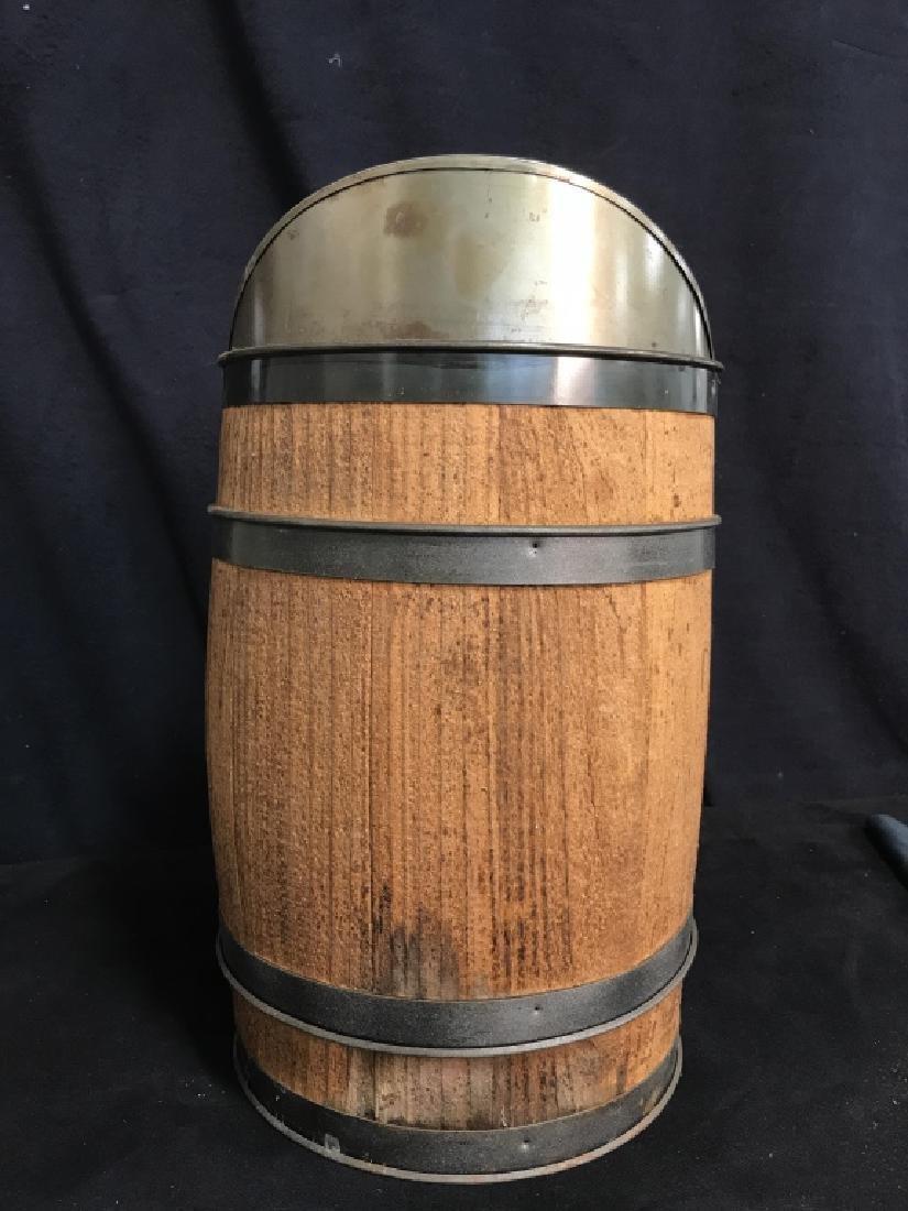 Vintage Charcoal Barrel With Built-in Metal Scoop - 3