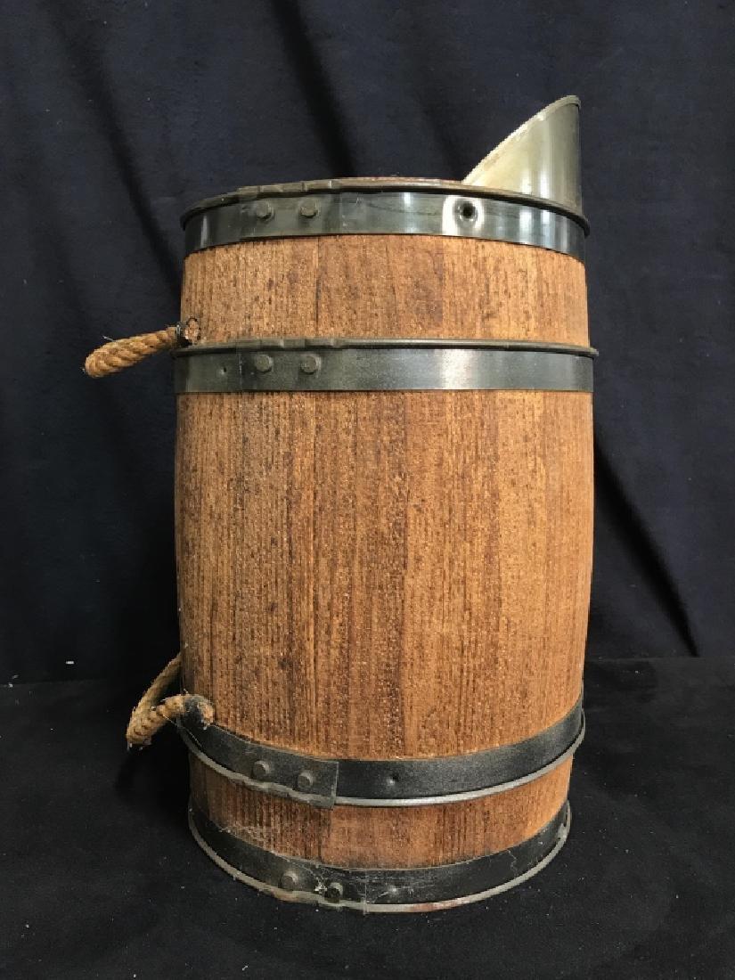 Vintage Charcoal Barrel With Built-in Metal Scoop - 4