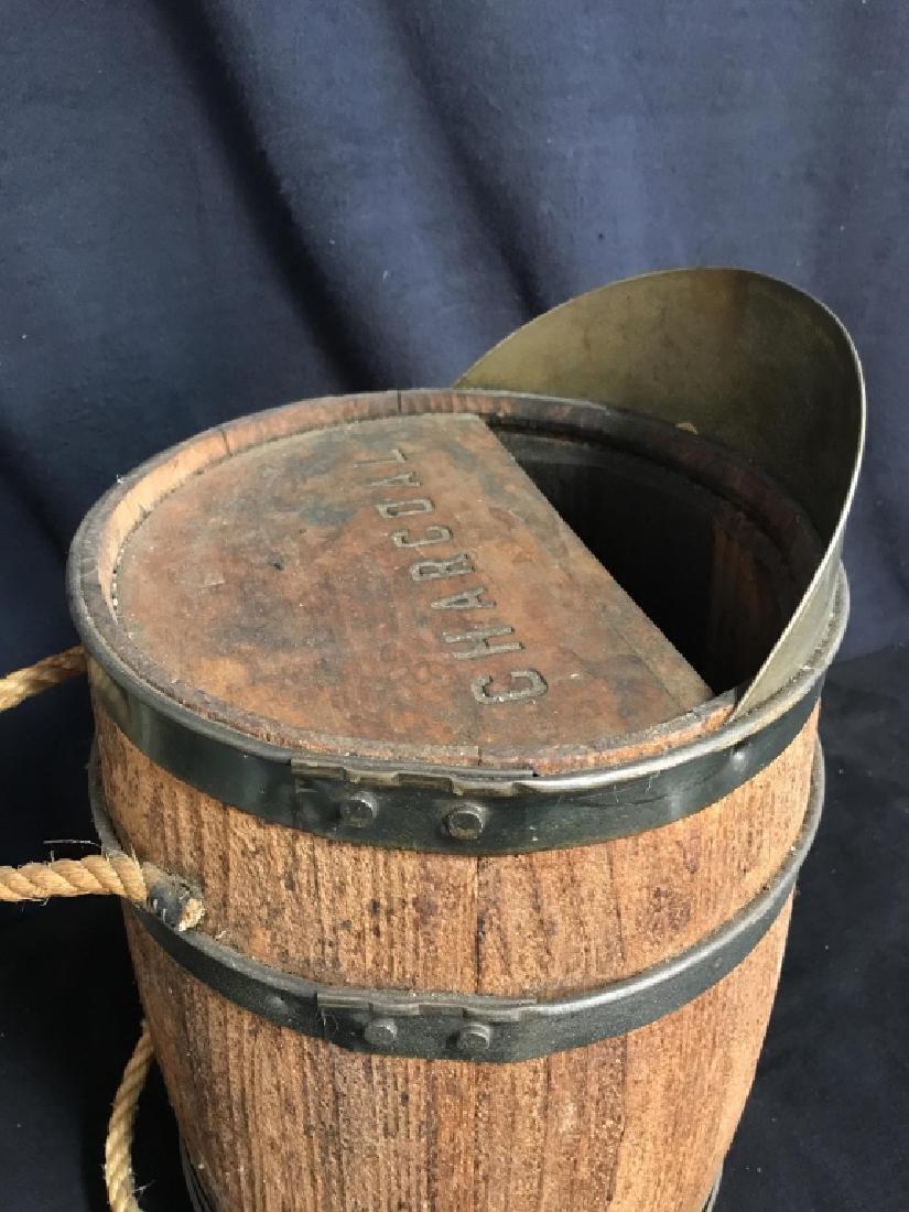 Vintage Charcoal Barrel With Built-in Metal Scoop - 5