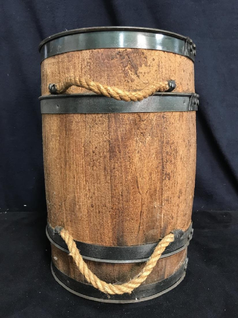 Vintage Charcoal Barrel With Built-in Metal Scoop - 6