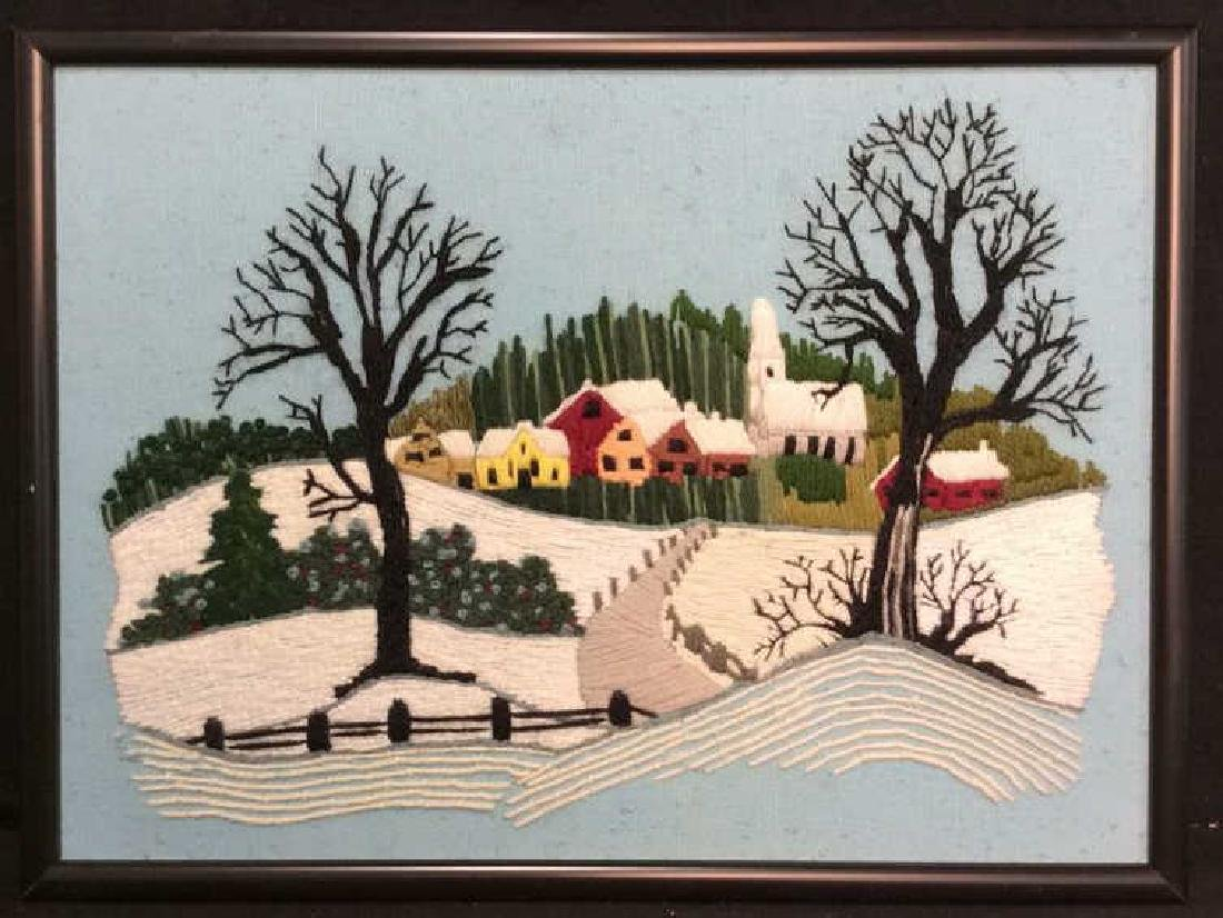 Yarn Embroidered Landscape Artwork - 2
