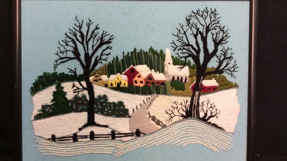 Yarn Embroidered Landscape Artwork - 3
