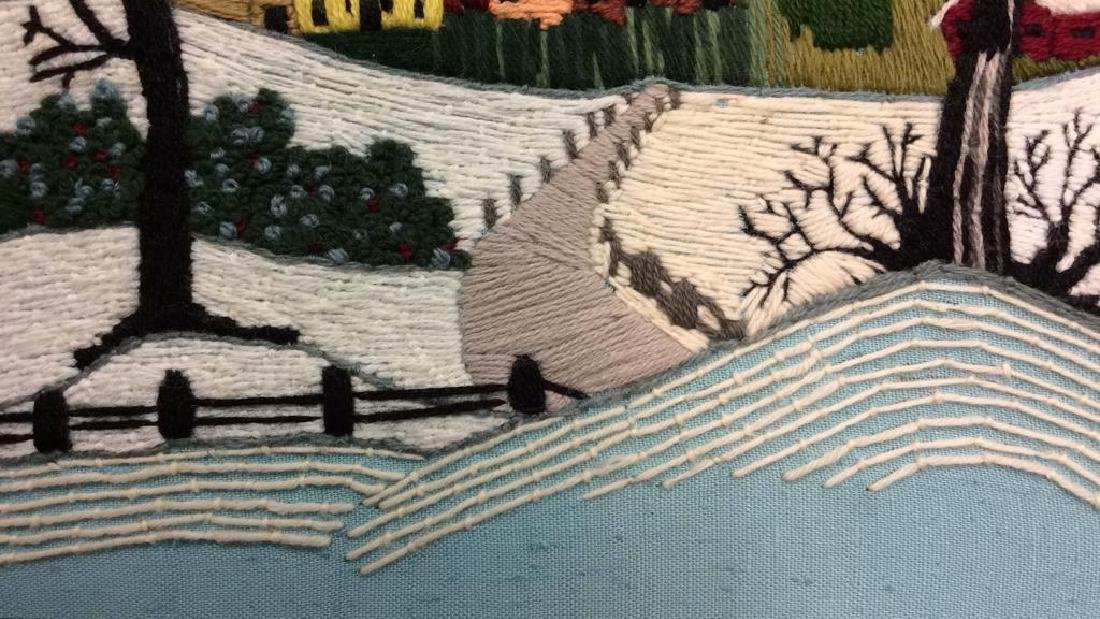 Yarn Embroidered Landscape Artwork - 9