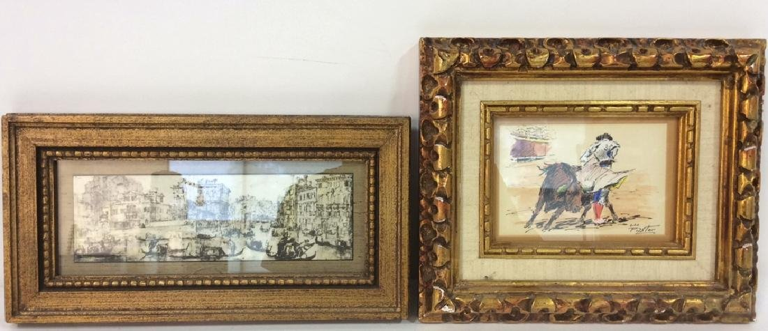 Lot 2 Poss Pen And Ink With Gold Toned Frame