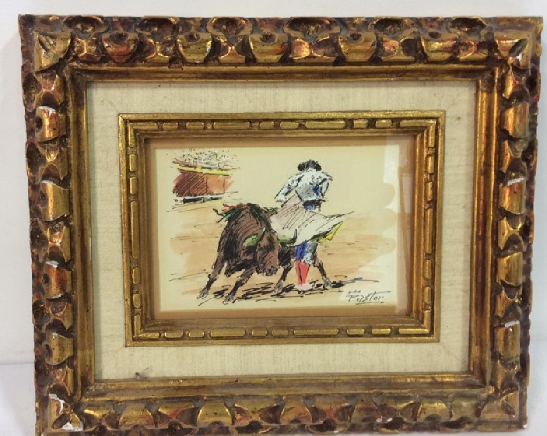 Lot 2 Poss Pen And Ink With Gold Toned Frame - 2