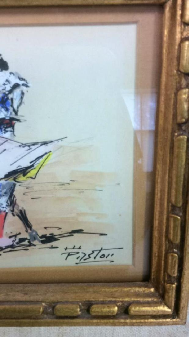 Lot 2 Poss Pen And Ink With Gold Toned Frame - 6