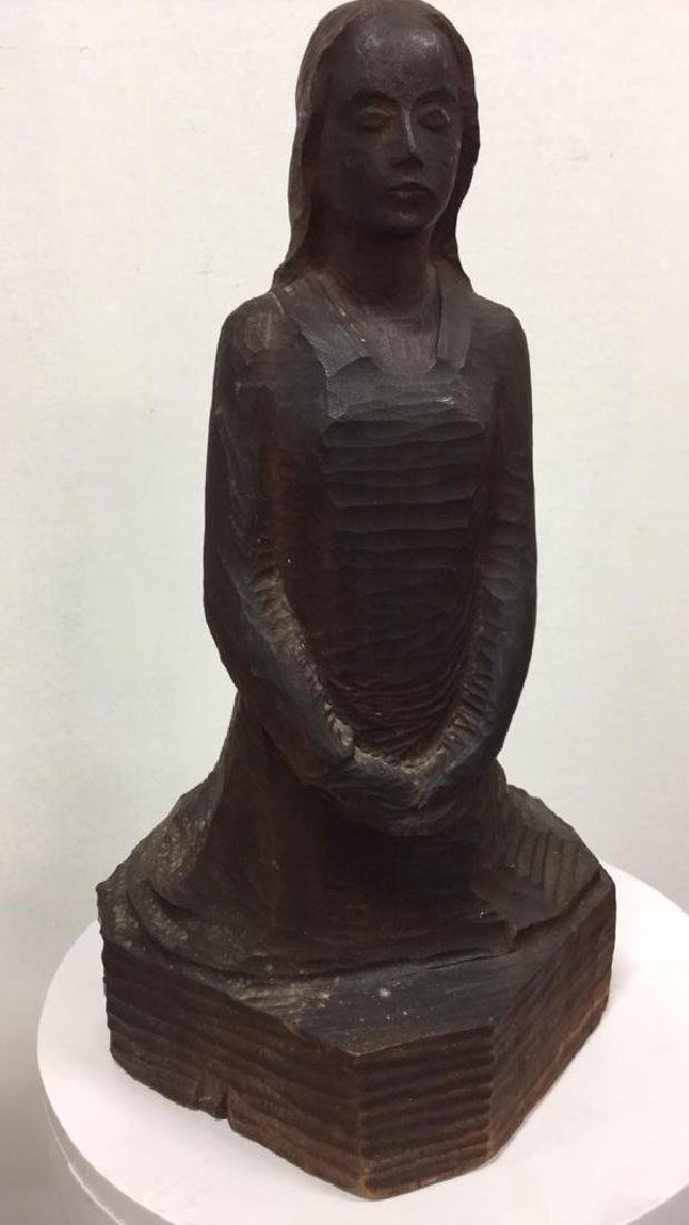 Carved Wooden Sculpture Female Figure - 2