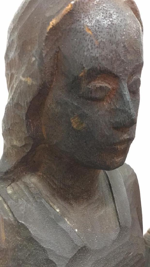 Carved Wooden Sculpture Female Figure - 4