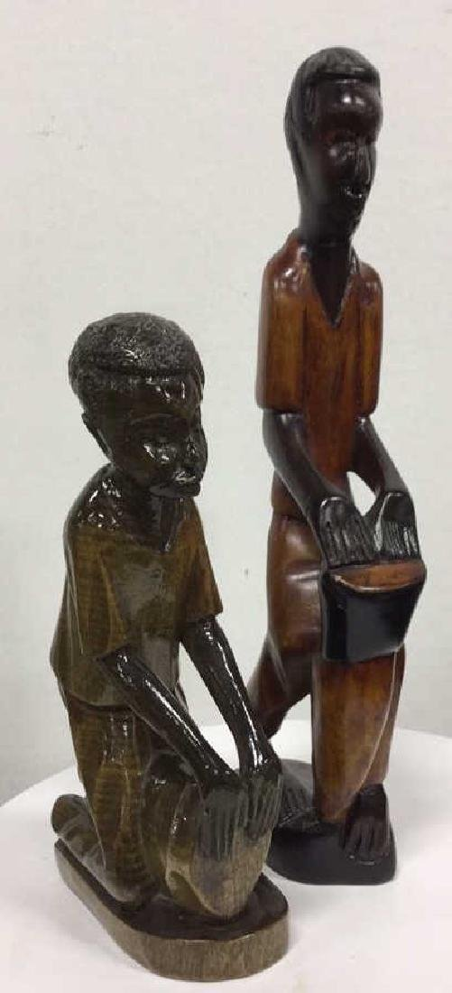 Pair Carved Wooden Drummer Figurals