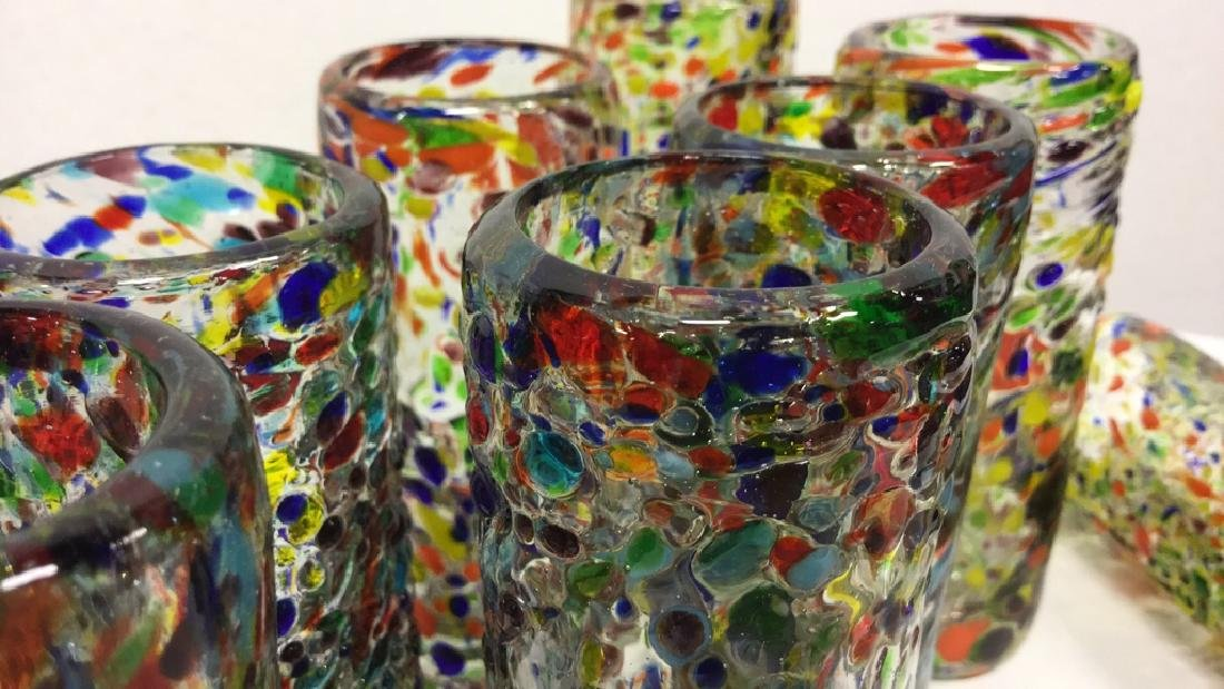 Handcrafted Art Glass Tequila Glasses - 6