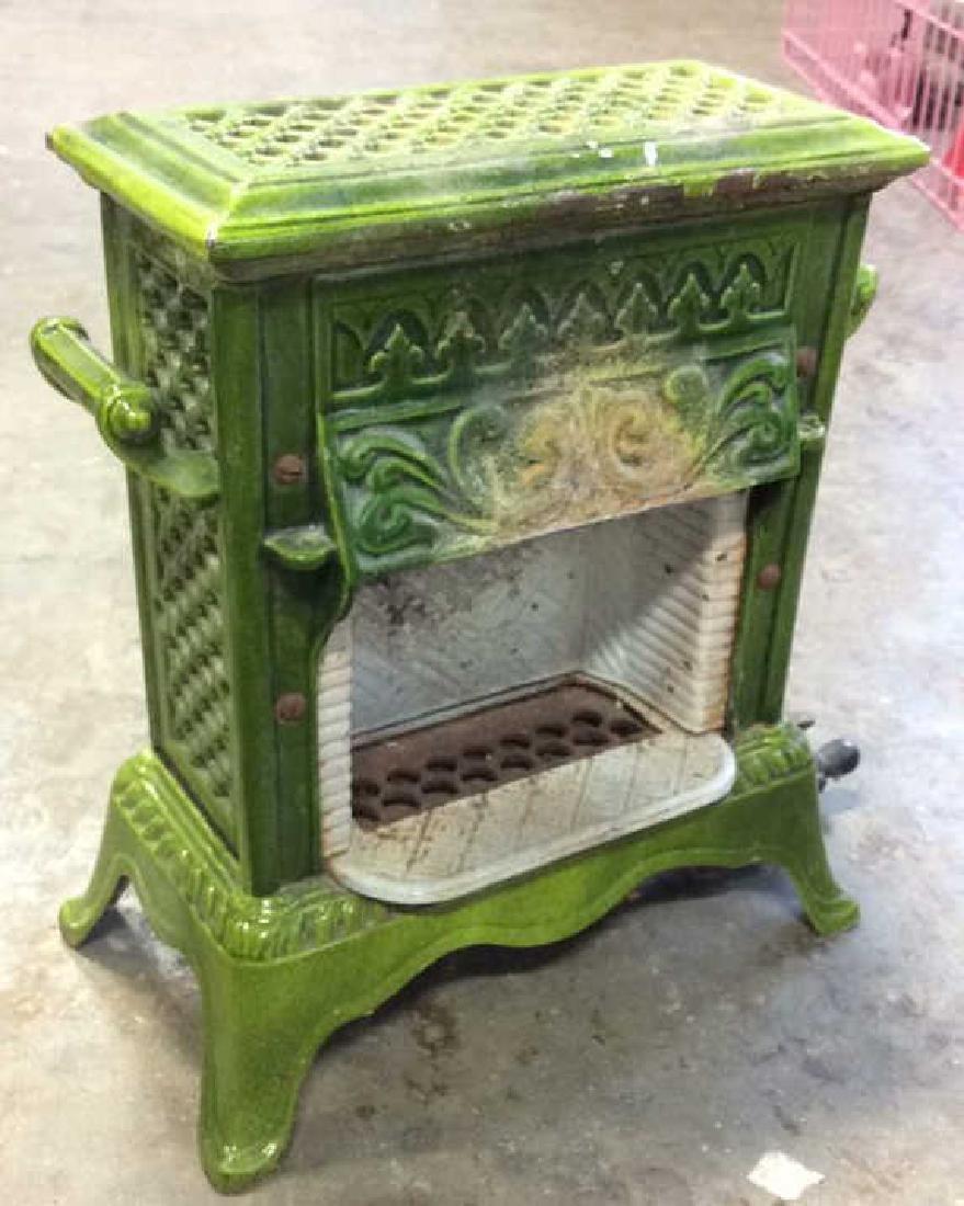 Green Enamel Glazed Cast Iron Heater, France