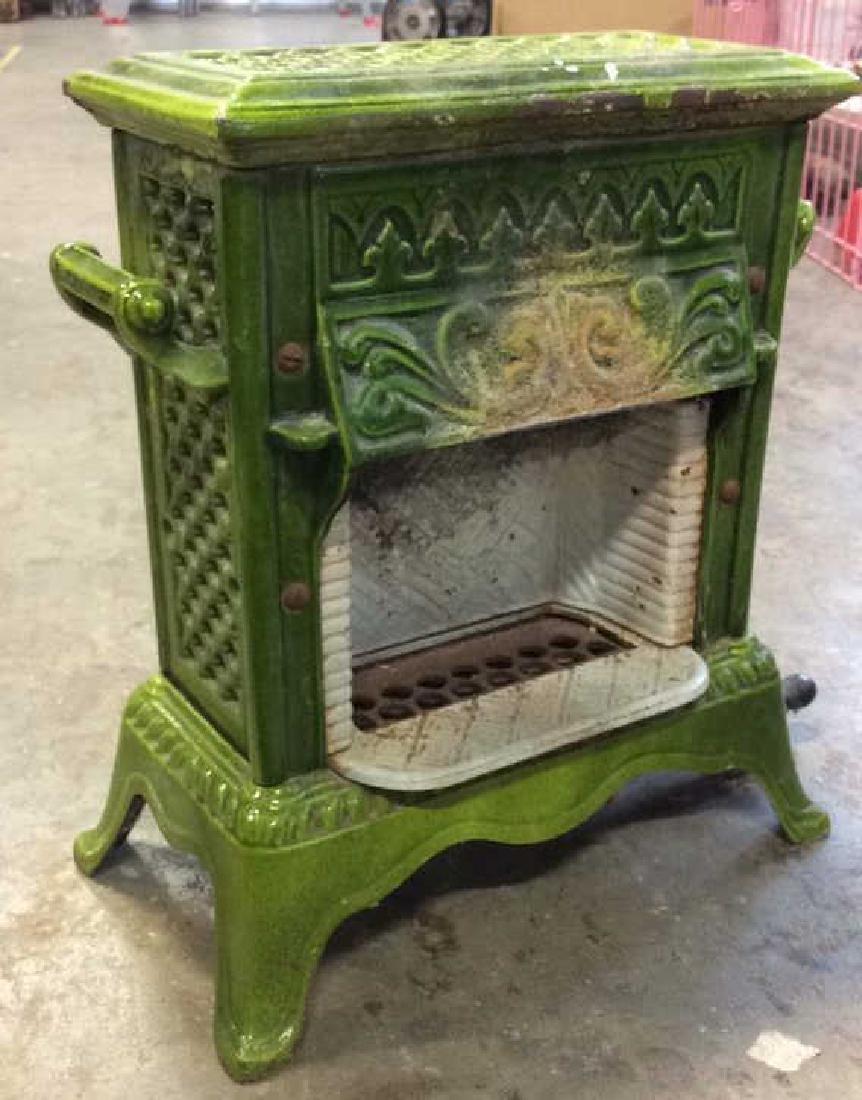 Green Enamel Glazed Cast Iron Heater, France - 2