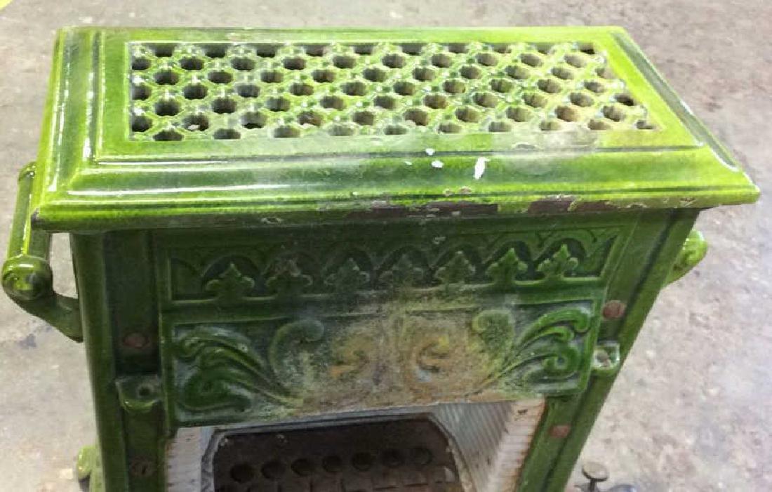 Green Enamel Glazed Cast Iron Heater, France - 3