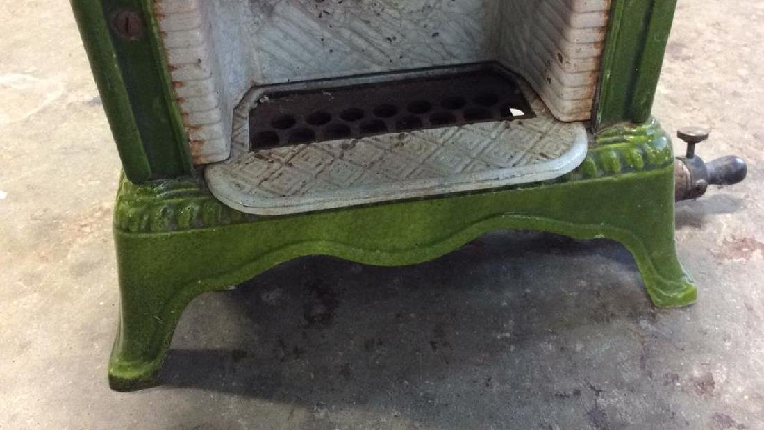 Green Enamel Glazed Cast Iron Heater, France - 4