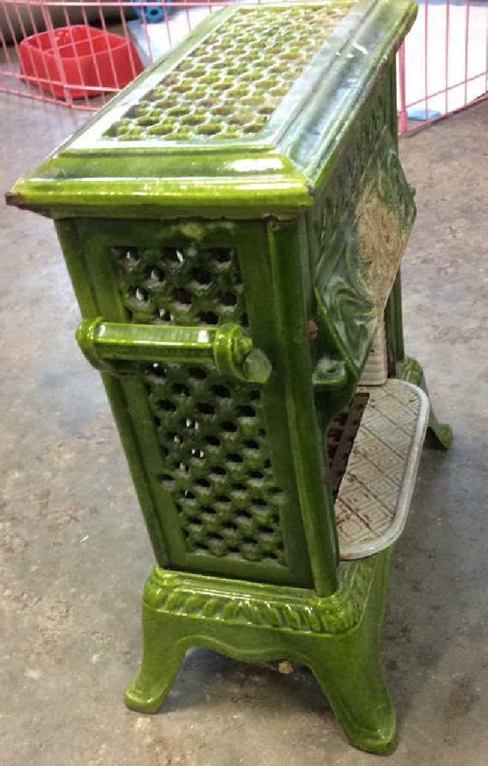 Green Enamel Glazed Cast Iron Heater, France - 5