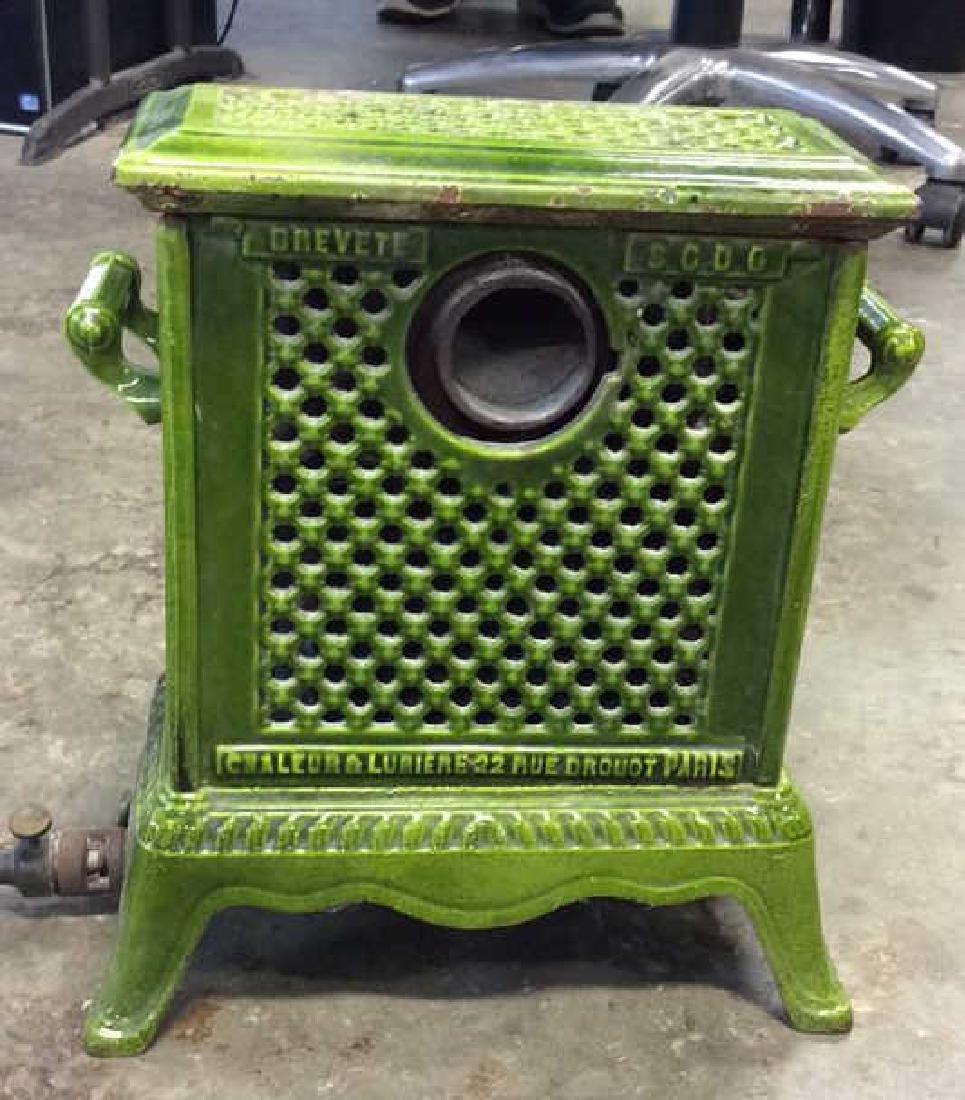 Green Enamel Glazed Cast Iron Heater, France - 6