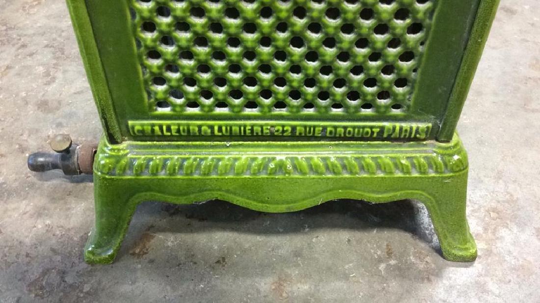 Green Enamel Glazed Cast Iron Heater, France - 7