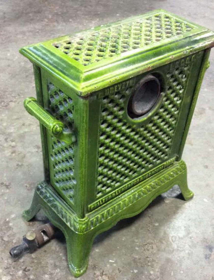 Green Enamel Glazed Cast Iron Heater, France - 8
