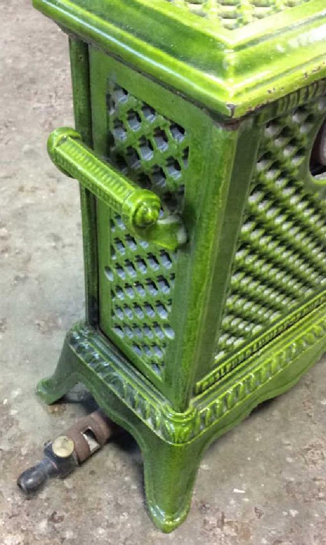 Green Enamel Glazed Cast Iron Heater, France - 9
