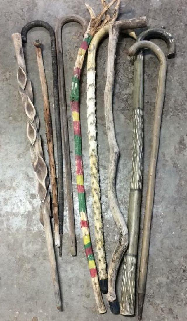 Group Lot Hand Carved Canes and Walking Sticks