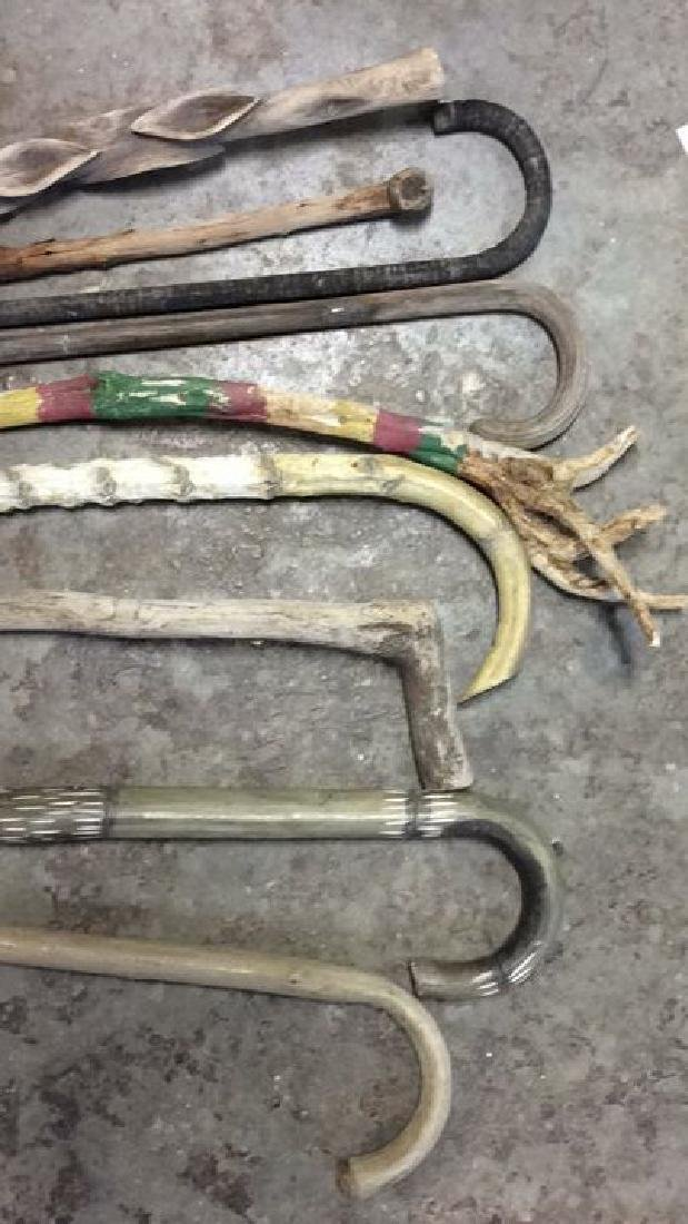 Group Lot Hand Carved Canes and Walking Sticks - 3