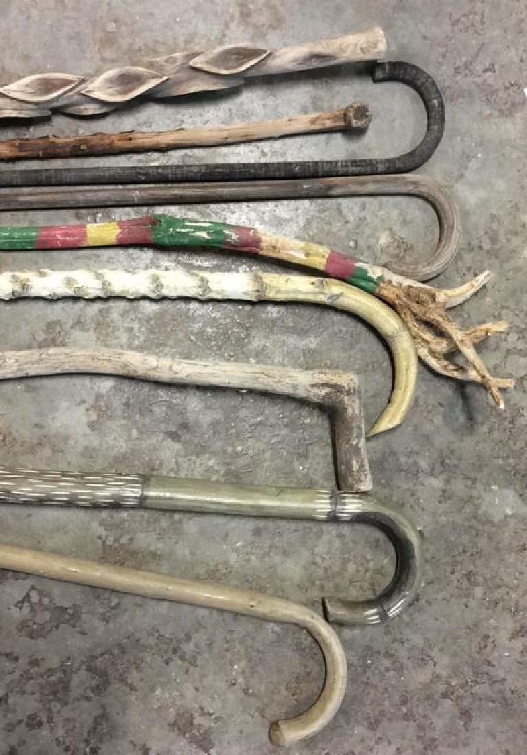 Group Lot Hand Carved Canes and Walking Sticks - 4