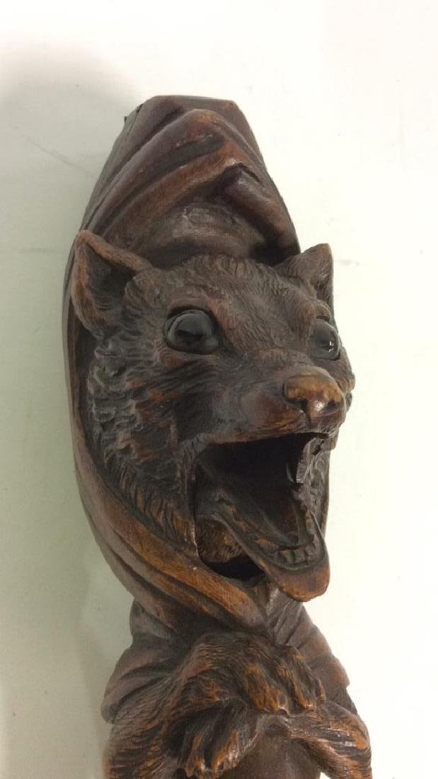 Hand Carved Wolf Form Nutcracker - 4
