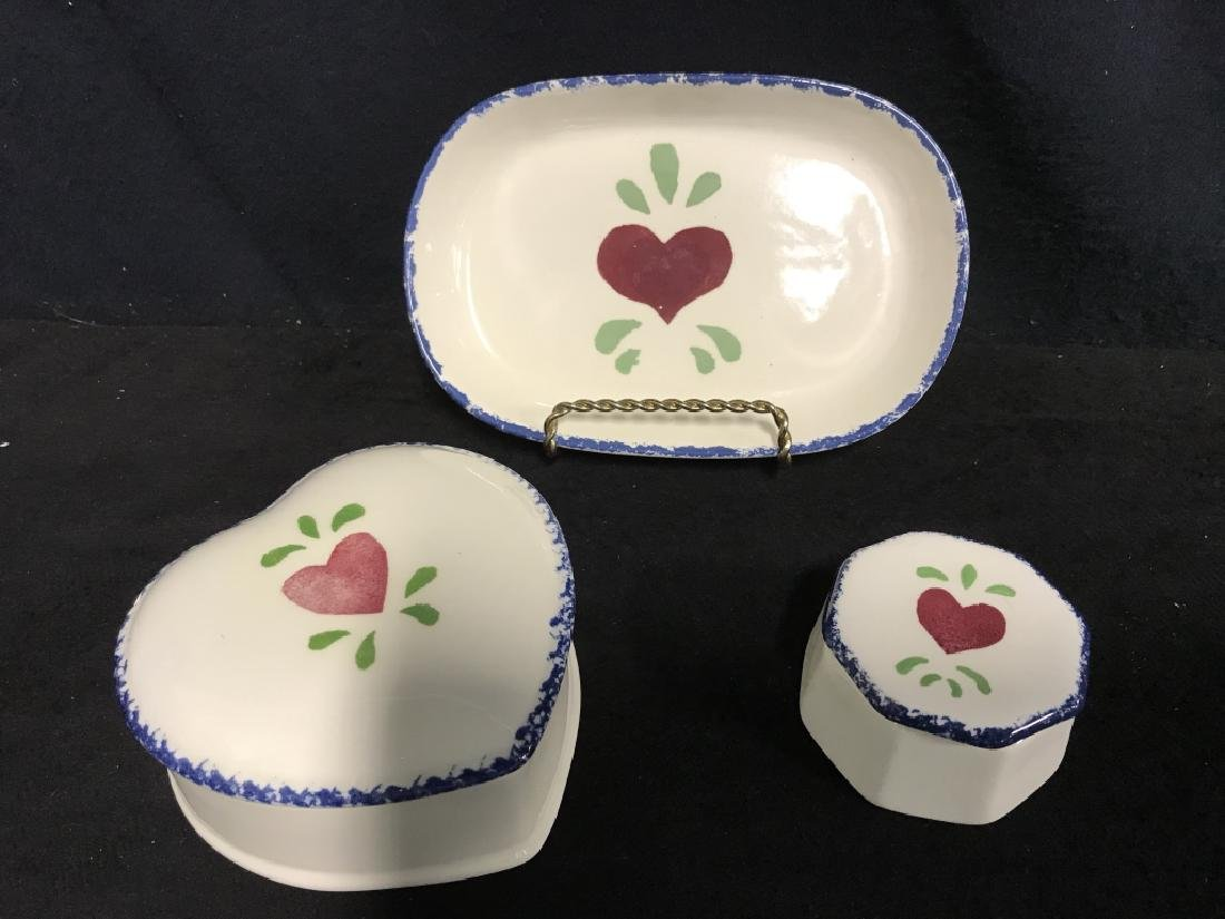 Lot 3 Jane James Ceramic Dishes With Heart Motif