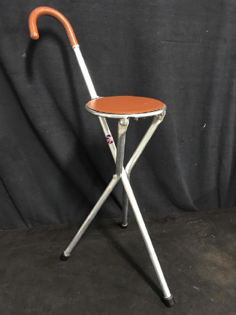 English Tirion Brown Leather Tripod Seat Stick