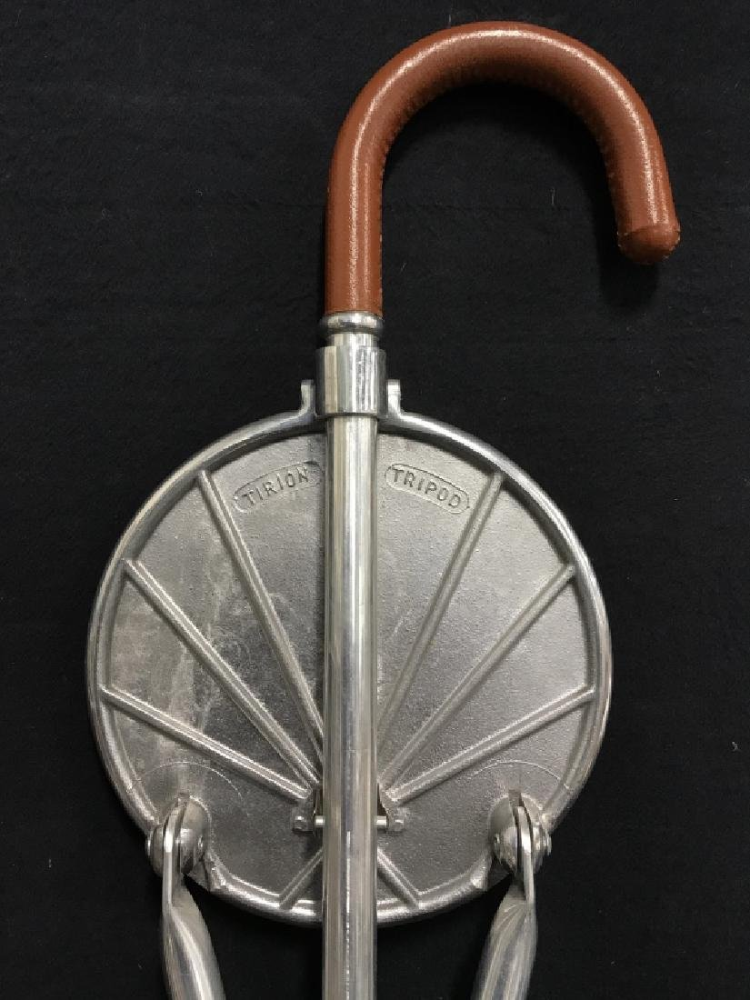 English Tirion Brown Leather Tripod Seat Stick - 4