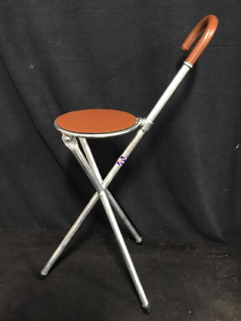 English Tirion Brown Leather Tripod Seat Stick - 5
