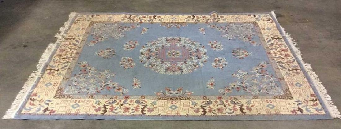 Lot 3 Floral Detailed Handmade Fringed Wool Rugs - 10