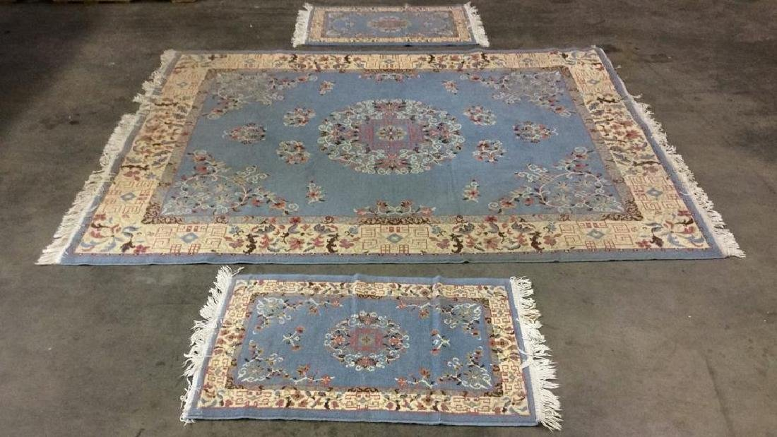Lot 3 Floral Detailed Handmade Fringed Wool Rugs
