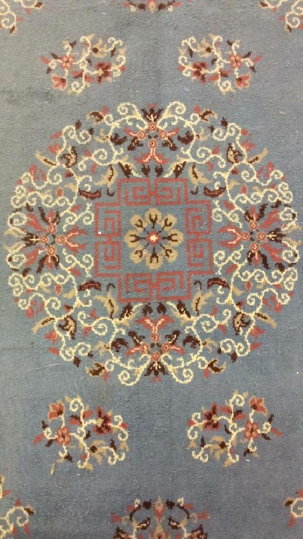 Lot 3 Floral Detailed Handmade Fringed Wool Rugs - 3