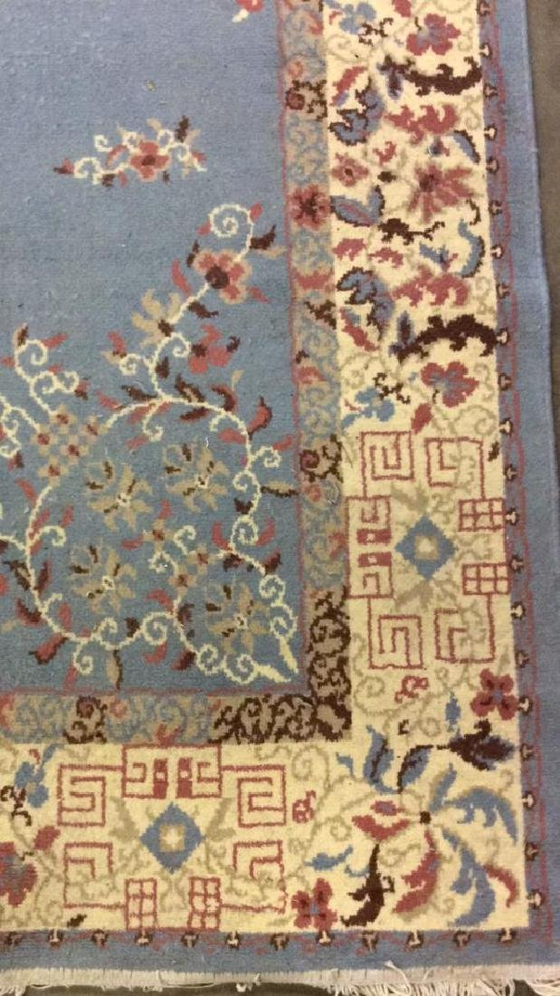 Lot 3 Floral Detailed Handmade Fringed Wool Rugs - 5