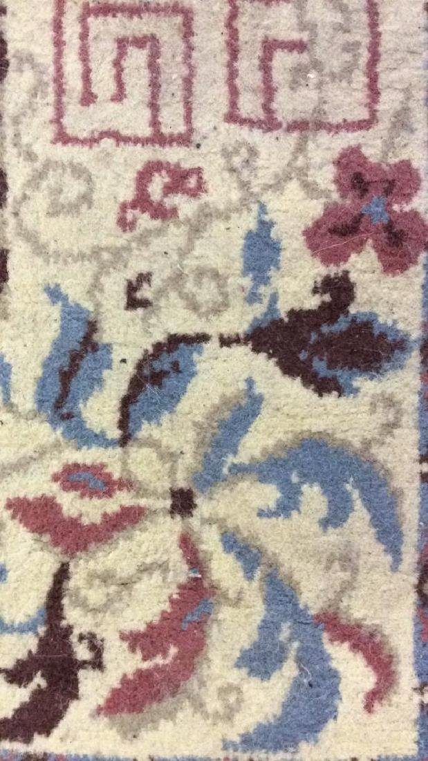 Lot 3 Floral Detailed Handmade Fringed Wool Rugs - 6