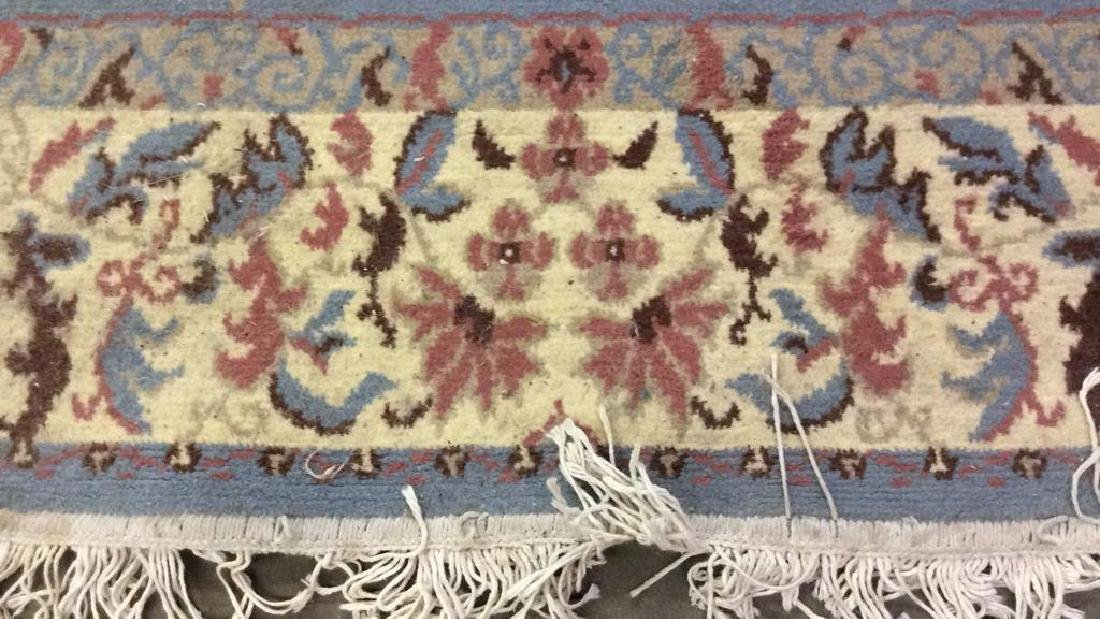 Lot 3 Floral Detailed Handmade Fringed Wool Rugs - 7
