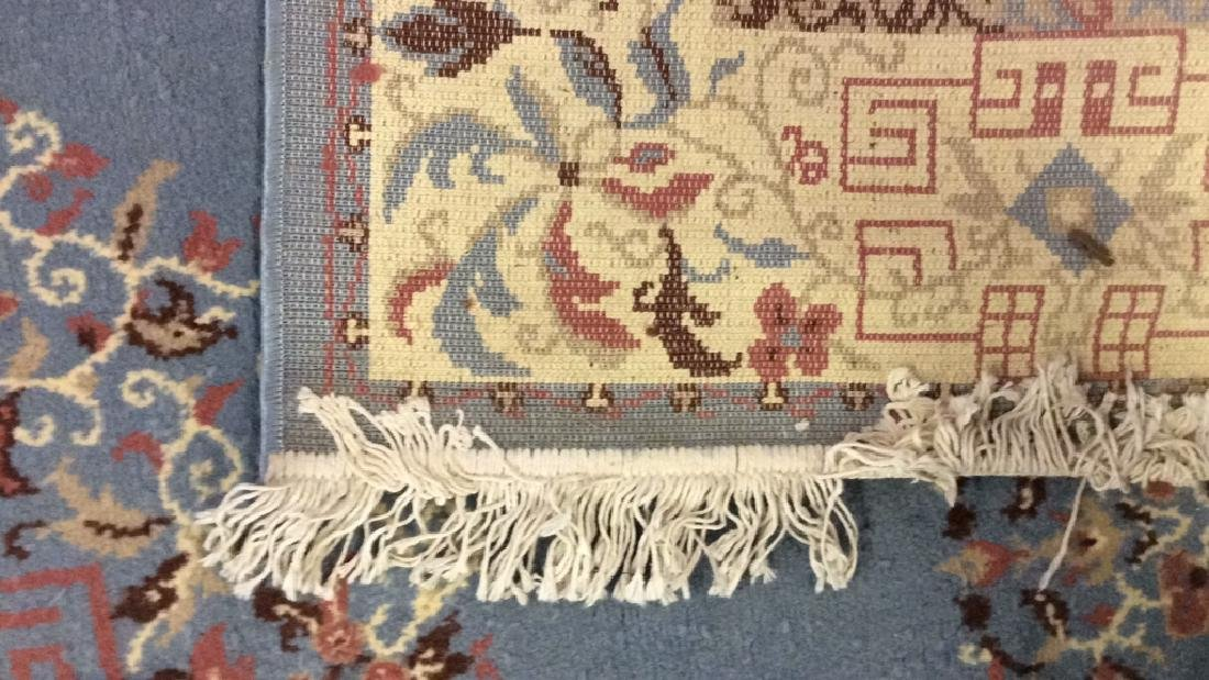 Lot 3 Floral Detailed Handmade Fringed Wool Rugs - 8