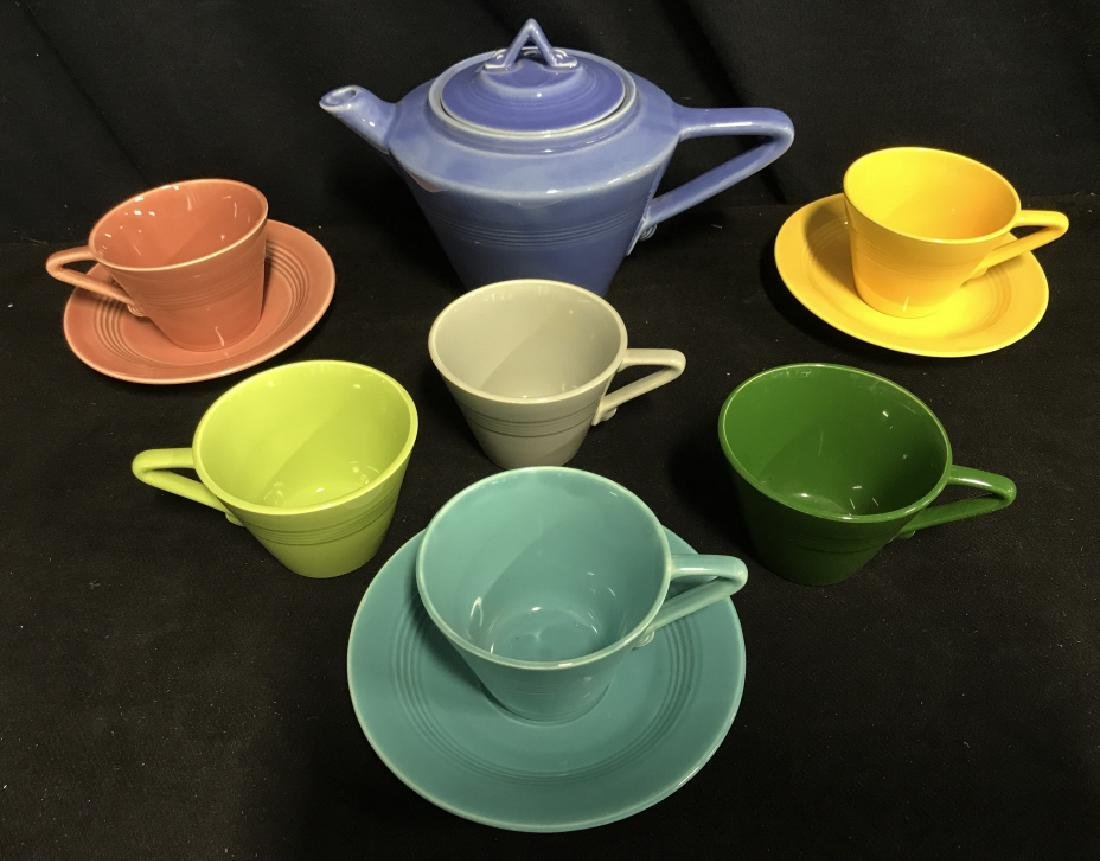 Set Of 10 Vintage Multicolored Ceramic Tea Set