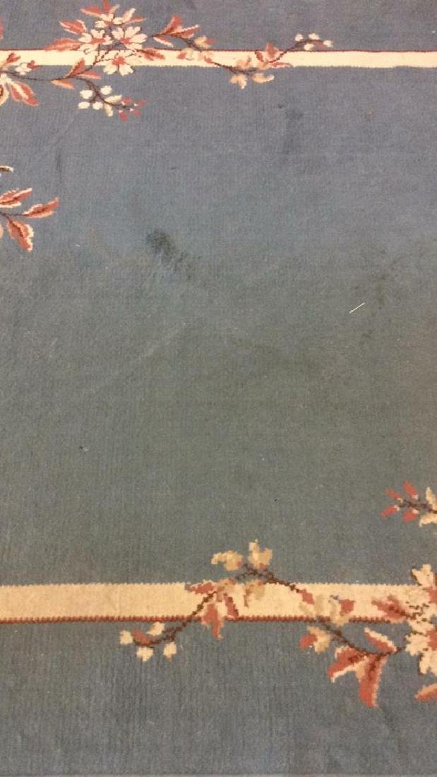 Lot 3 Floral Detail Wool Rugs W Fringes - 2