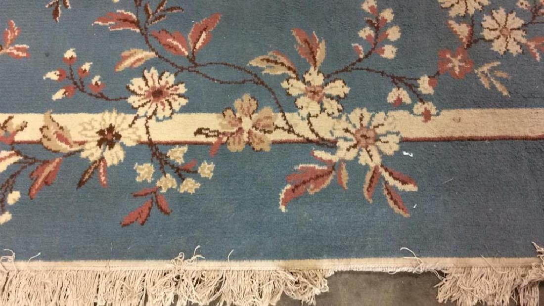 Lot 3 Floral Detail Wool Rugs W Fringes - 3